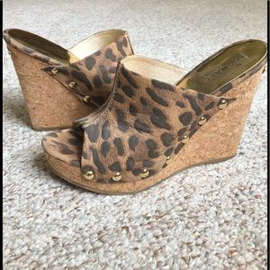 Michael Kors Leopard Studded Cork Wedge Sandal